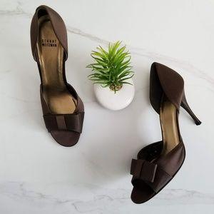 STUART WEITZMAN Open Toe Bow Brown Pumps Heels